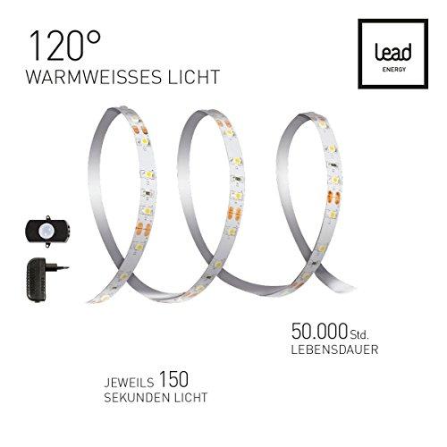 LED NACHTLICHT Strip Set 1x3m NLL mit Bewegungsmelder | Warmweiss 2700 Kelvin | LED Bettlampe | LED Schranklampe | Night Light 7W