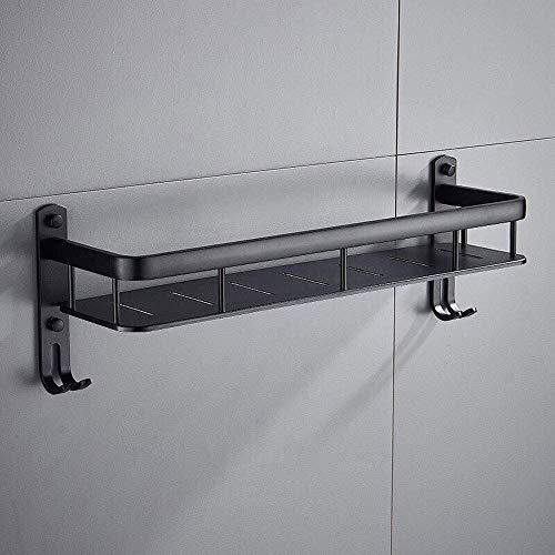 Badkamerrekplank, badkamerplankruimte aluminium, aan de muur bevestigd badhanddoekrek met haken, badkameraccessoires, geanodiseerd, waterdicht, vochtbestendig, anti-val, zwart (maat: 40 cm)