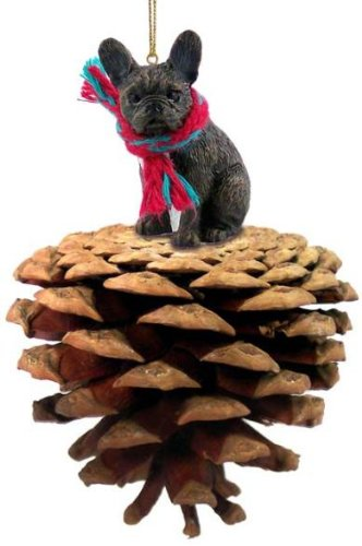 Brindle French Bulldog Real Pinecone Dog Christmas Ornament