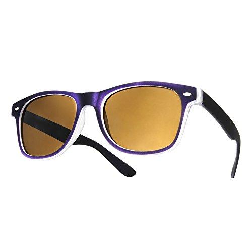 4sold (TM) - Gafas de sol con cristales ahumados, diseño ochentero, unisex Morado morado