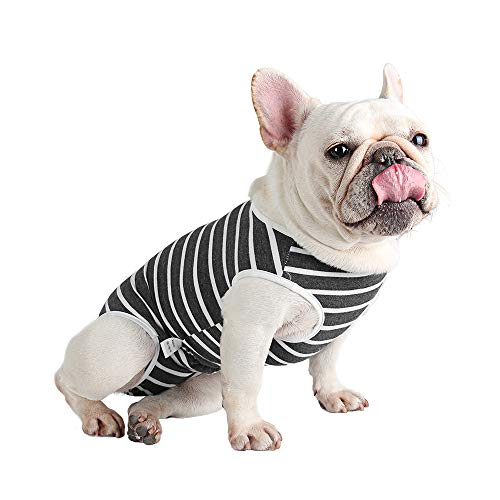 Etdane Dog Diapers Sanitary Panties Physiological Period Shirts Surgical Recovery Suits for Male and Female Dogs White Stripe X-Large