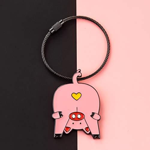 TSP Porte-clés créatif en fil d'acier avec pendentif amusant en forme d'animal blanc jaune rose pour sac de voiture bijoux accessoire cadeau fille garçon (couleur : C rose cochon)