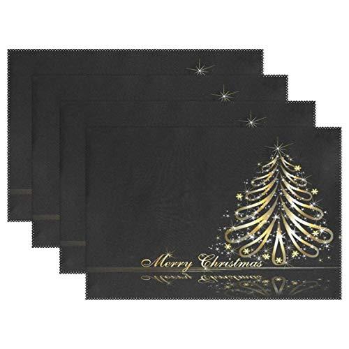 Mantel individual para árbol de Navidad dorado, mantel individual para decoración de escritorio, juego de 6 antideslizantes resistentes al calor, 12x18 pulgadas