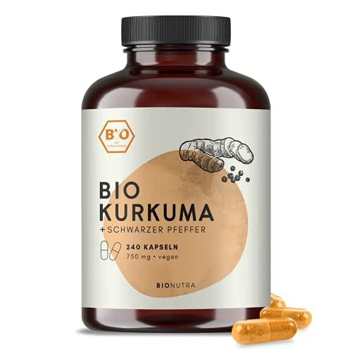 BIONUTRA® Kurkuma Kapseln Bio (240 x 750 mg) mit schwarzem Pfeffer, hochdosiert, deutsche Herstellung, 2-Monatspackung, vegan, ohne Zusätze, kontrolliert biologisch