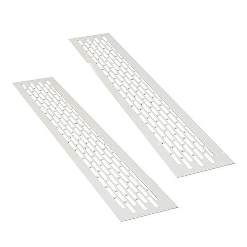 sossai® Aluminium Lüftungsgitter - Alucratis (2 Stück) | Rechteckig - Maße: 48 x 8 cm | Farbe: Weiss | Pulverbeschichtet