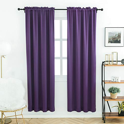 Anjee Plain Solid Curtains Thermal Insulated Blackout Curtains for Bedroom 38 x 72 Inches (2pcs,Purple)