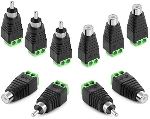 Poppstar RCA Cinch Stecker Adapter Set (5X RCA Stecker / 5X RCA Buchse auf 2-Pin Terminal-Block) DC Cinch-Anschluss für Audio-, Videokabel, CCTV-Kamera, Lautsprecher