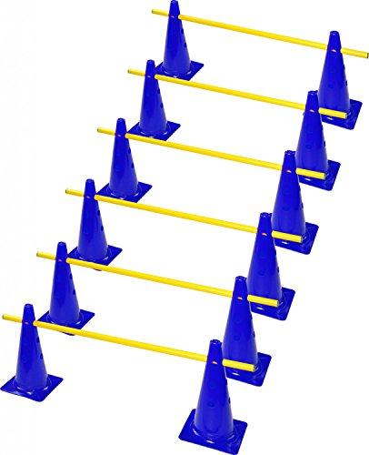 RHINOS sports Steckhürdenset 6er | 12 Blaue Kegel: 30cm | 6 gelbe Stangen: 1m