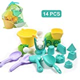 MezoJaoie Kids Beach Sand Toy Set, 14PCS / Set Bucket Sandmolds Pala con bolsa de almacenamiento Lovely Plastic Sand Toy para niños Regalos