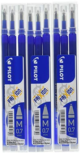 Pilot Frixion - Confezione da 9 ricariche per penna a sfera, tratto 0,7 mm, colore: Blu