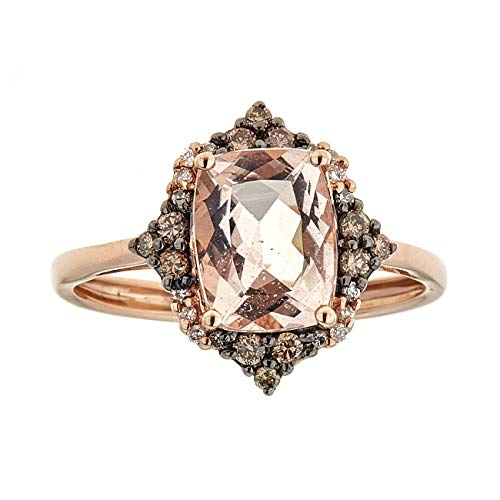 Gin & Grace Oro de 14K Rose Morganita genuino con Natural Brown & White Diamond Anitque Declaración cóctel Proponer Promise Ring para la Mujer