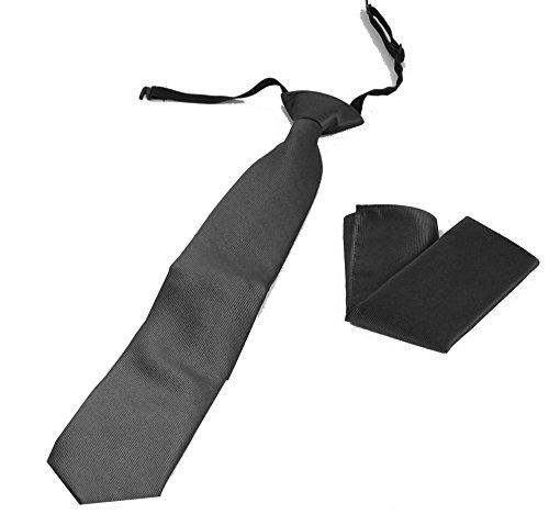 PB Pietro Baldini Krawatte gummizug - in diversen Farben mit Einstecktuch - krawatte fertig gebunden (Anthrazit)