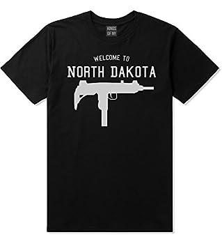 Welcome to North Dakota Uzi Sub Machine Gun Mens T-Shirt XXX-Large Black