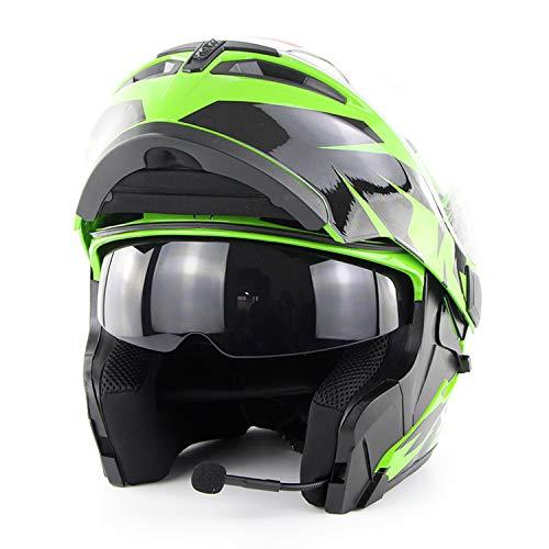 AA100 Motorrad Bluetooth Integralhelm/Erwachsene Rennradrennen Motorradhelm Cromwell Helm Jet Doppelspiegel Modularer Flip-Helm (S, M, L, XL, XXL)