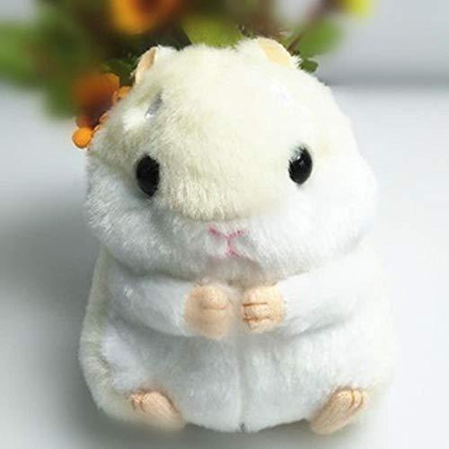 Huien Mode Mini Hamster Fluffy Faux Kaninchen Fell Pompon Schlüsselbund Schmuckstücke Handtasche Anhänger Auto Schlüsselanhänger Ringhalter Mädchen Partygeschenk, Beige Hamster Silber