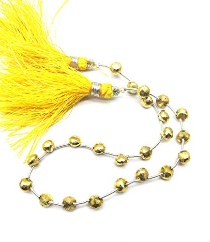 Shree_Narayani Fine Quality Gold Pyrite Loose Beads Strand Micro Faceted Rondelle 5 * 4mm 9' for Jewelry Making DIY Crafts Charms Necklace Bracelet Earring 1 Strand
