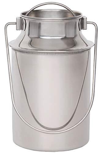 Beeketal \'BMK-3\' Edelstahl Milchkanne Transportkanne mit 1,5 Liter Volumen, Milchkanister mit Deckel, Drahtbügel Transportgriff und Schütthilfe Rand, Abmessung (Ø/H): ca. 110 x 200 mm