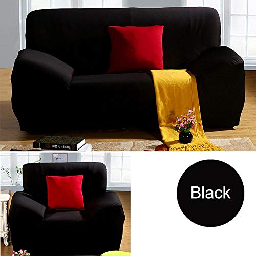 flqwe Slipcovers Furniture Protector,General elastic sofa cover, solid color stretch protection cloth-Black_4-seat 235x300cm,Elastic Fabric Sofa Protector