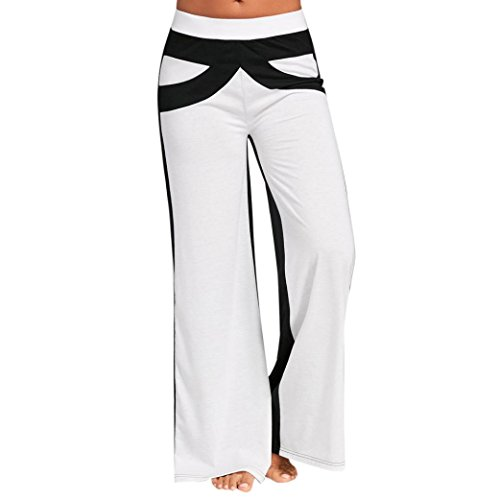 Women's Casual Loose Wide Leg Yoga Pants BCDshop High Waisted Flared Bell Bottom Palazzo Lounge Trousers (White, USA Size 8)