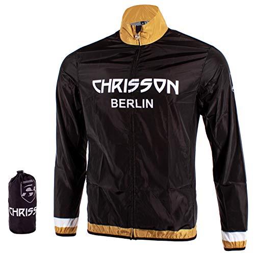 CHRISSON Windbreaker Gold XL Herren, Wasserabweisende Fahrradjacke für Männer, Funktionale Trainingsjacke, Quick Dry Windstopper, Windjacke mit Reißverschluss