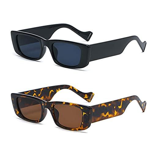 Long Keeper 2 Pezzi Occhiali da Sole Rettangolari Occhiali Vintage a Quadrati da Donna Uomo UV400 Protezione (Nera+Leopardo)