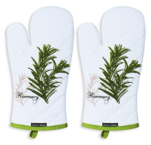 Amour Infini Oven Mitts, Unique Herb Garden Design, Oven Mitts Heat Resistant, 100% Cotton, Set of 2, Oven Mitt Size 7 x 13 Inches