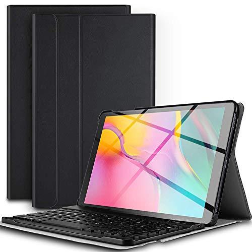WOYAOY Jelly Comb Samsung Galaxy Tab A 10.1 Tastatur Hülle, Bluetooth Beleuchtete Tastatur mit Schützhülle für Samsung Galaxy Tab A 10.1 Zoll T580/T585, mit 7-farbige Beleuchtung(Französisch)