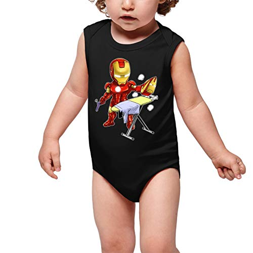 Okiwoki Body bébé sans Manches Noir Parodie Iron Man - Tony Stark - Le Super Héros du Quotidien !! (Body bébé de qualité supérieure de Taille 9 Mois - imprimé en France)