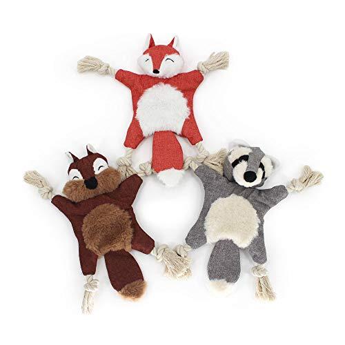 Interaktives Hundespielzeug Quitschend Plüsch Unzerstörbar – Plüschspielzeug für hunde im Form von Fuchs,Waschbär,Eichhörnchen Welpenspielzeug Set, Kauspielzeug Hund, Quitsche Spielzeug für Hunde