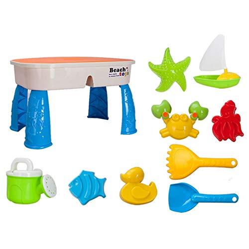 Morningtime water- en zandspeeltafel, speeltafel, zandbaktafel voor kinderen, zandspeeltafel, waterspeeltafel, boedtafel, accessoires, 10 stuks, 2 in 1 voor kinderen vanaf 3 jaar