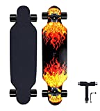 31' Short Longboard Carving Cruising longboards Skateboard for begenner (red)