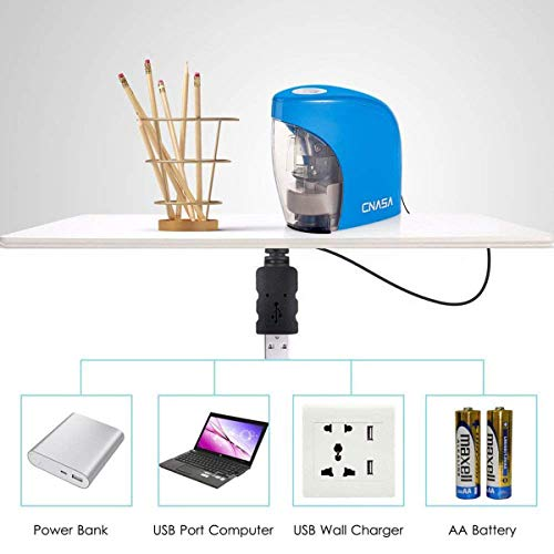 Pencil Sharpener,Electric Pencil Sharpener for NO.2 Pencils and Colored Pencils,Portable Automatic Electric Sharpener Feature for Home/School/Classroom/Office,USB or 2AA Batteries BLUE Photo #2