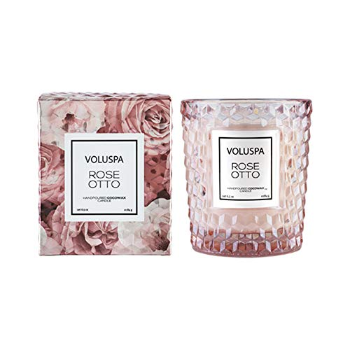 Voluspa Rose Otto Classic Textured Glass Boxed Candle, 6.5 Ounces