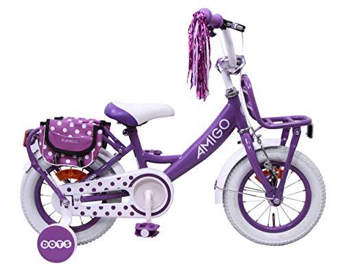 Amigo Dots - Kinderfahrrad für Mädchen - 12 Zoll - mit Handbremse, Rücktritt, Gepäckträger Vorne, Lenkerpolster und Stützräder - ab 3-4 Jahre - Lila
