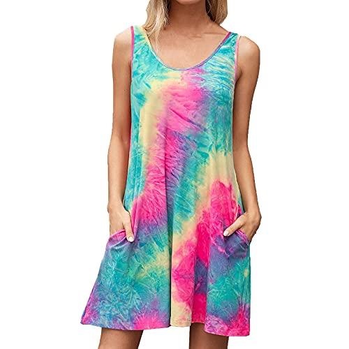 top 10 best 2021 4 Sleeveless tie-dye Print Tank Top Dress Pocket ,Summer Dresses for Women 2021 Knee Length Sleeveless,Womens Summer Dresses Plus Size Casual