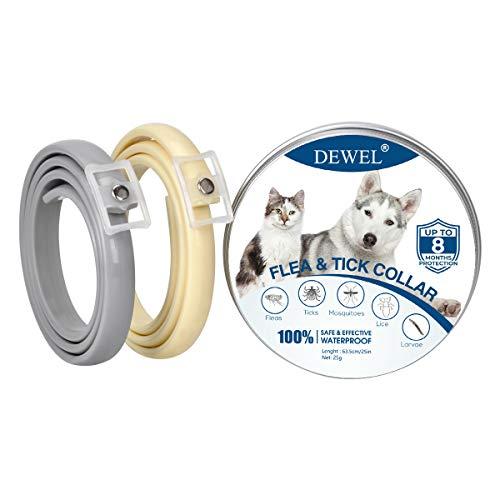 DEWEL 2pcs Collar Antiparasitos Perros/Gatos contra Pulgas,Garrapatas y Mosquitos,Tamaño Ajustable e Impermeable para Mascota Pequeño Mediano Grandes