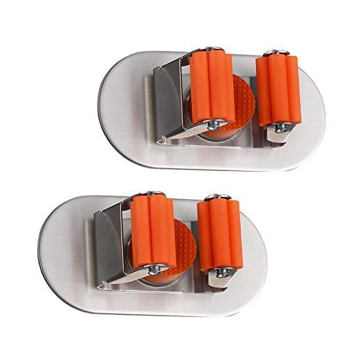 Xinyanmy Besenhalter Selbstklebend 3M Edelstahl Multifunktionen Mop Besen Halter Gartenwerkzeug für Küche Badezimmer Garten,2 Stück