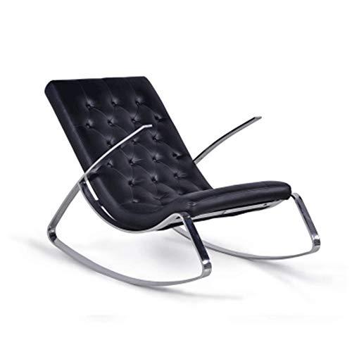 HOLPPO-Desk Reclinable Salón Moderno Silla de Cuero Dormitorio Siesta Individual de oscilación de los Asientos, Negro/Blanco (Color : Negro)