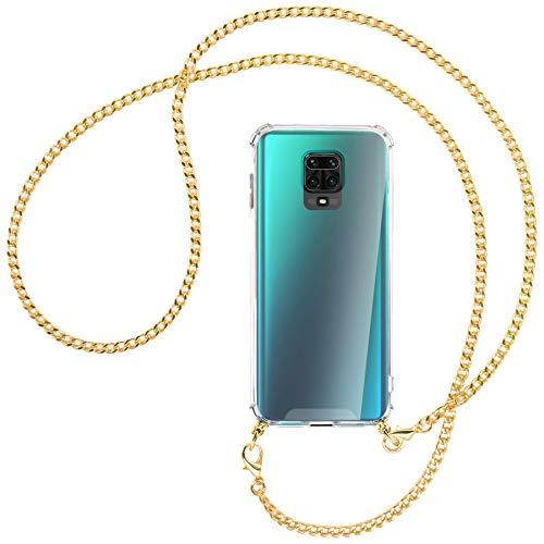 mtb more energy Collar Smartphone para Xiaomi Redmi Note 9s, Note 9 Pro (6.67'') - Cadena de Metal (Oro) - Funda Protectora ponible - Carcasa Anti Shock con Correa para Hombro