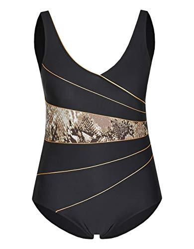 Bexleys woman by Adler Mode Damen Badeanzug formend schwarz leoprint 44B-Cup