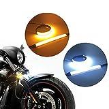 DEDC Led de Luz Senal de Giro Indicator, Indicadores de Motocicleta Luces de Señal, Universales Intermitentes Moto, para Moto, Scooter, Amarillo y Blanco