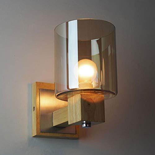 Lámpara Nordic Minimalista Lámpara de pared de vidrio de color ámbar Dormitorio Mesita de noche Cristal Cristal ámbar Luz de pared de madera. 1