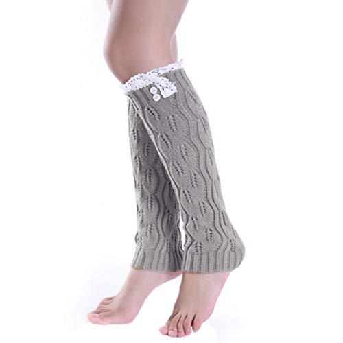 Nanxson Damen Warmer Strick Socken Beinstulpen Stulpe Knielang Strumpf mit Spitzensaum TTW0020 hellgrau
