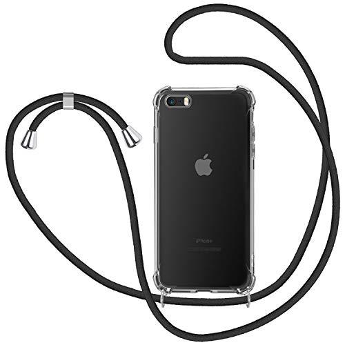 Funda con Cuerda para iPhone 5 / 5S / SE, Carcasa Transparente TPU Suave Silicona Case con Correa Colgante Ajustable Collar Correa de Cuello Cadena Cordón para iPhone 5 / 5S / SE - Negro