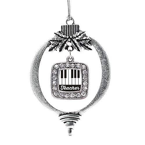 Inspired Silver - Piano Teacher Charm Ornament - Silver Square Charm Holiday Ornaments with Cubic Zirconia Jewelry