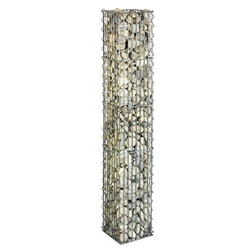 bellissa Gabionen-Steinsäule eckig - 95540 - Dekorative Gabionensäule für den Außenbereich - 20 x 20 x 125 cm