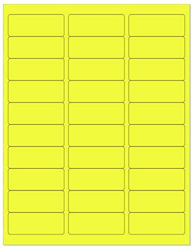 """8-1/2 x 11"""" Neon Color High Light Fluorescent Labels for Laser & Inkjet Printer (Yellow Fluorescent, 1"""" x 2-5/8"""" - 30 Per Page   3000 Labels)"""