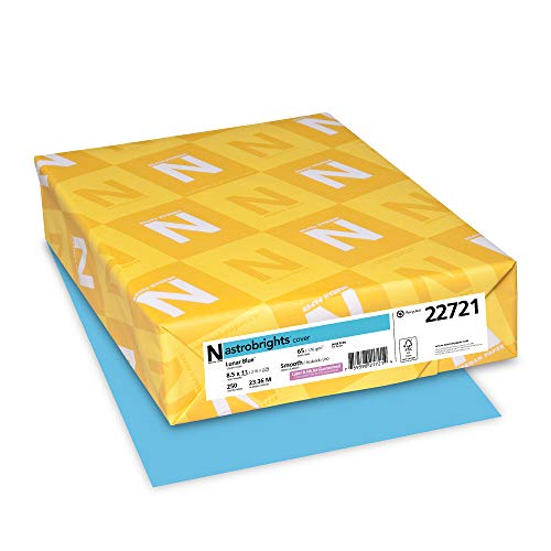 "Neenah Wausau Paper 22721 Astrobrights Colored Cardstock, 8.5"" x 11"", 65 lb / 176 GSM, Lunar Blue, 250 Sheets"