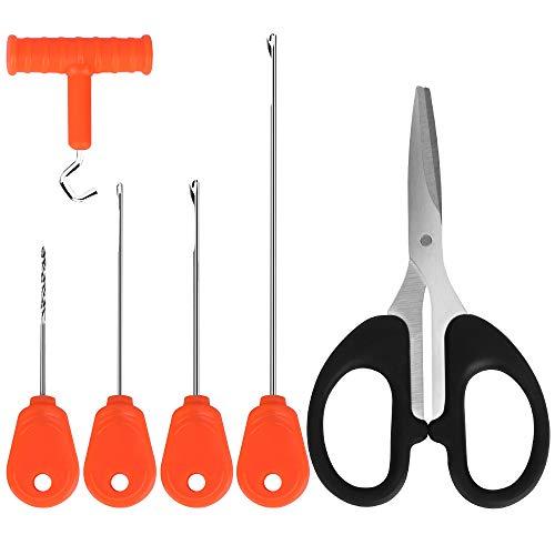 Luroad Angeln Karpfen Zubehör, Ködernadel Bohrer Werkzeug Set, Tragbare Boilie Nadel für Karpfen Angeln, Enthalten mit Verriegelungsnadel Bohrnadel Schnurschere Knotenzieher