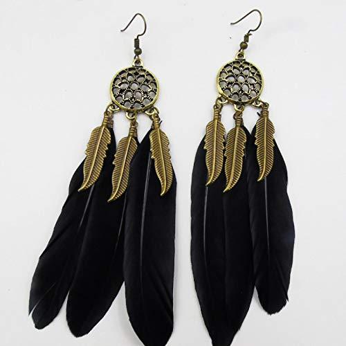 YZYZ Pendientes bohemios retro con plumas, geometría, belleza salvaje
